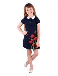 """Платье для девочки синего цвета с белым воротником """"Маки"""""""
